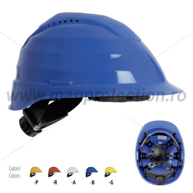Casca de protectie Rockman + dispozitiv de reglare rapida + suspensie plastic, art.D268 ( 2694 DR )