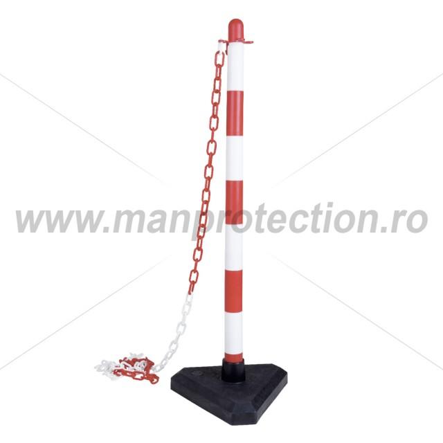 Stalp de delimitare PVC alb/rosu, art.T158 ( 159 )